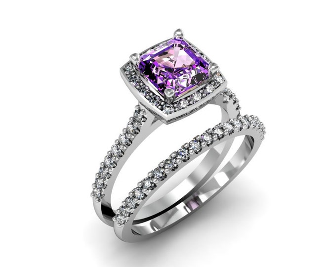 Elegant 14k White Gold Classic Engagement or Wedding Ring with Diamond and Amethyst Item # LARFW-00852