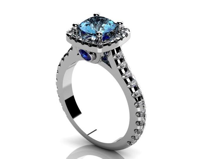 14k White Gold Classic Engagement or wedding Ring with Diamond  Blue Sapphire and Aquamarine Item # RFW000-X-298