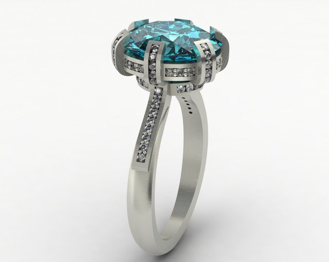 OMEGA - 14k White Gold Classic Engagement or Wedding Ring with Blue Topaz and Diamonds (Item # LAWR-00516)