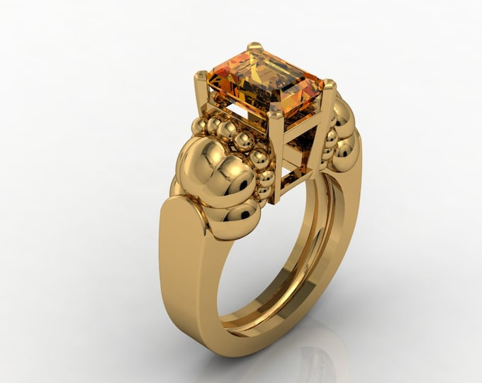 French Antique 14k Yellow Gold Engagement or Wedding Bridal with Citrine Orange Item # RFW - 0035