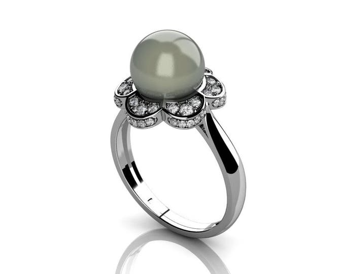 18k White Gold Classic Engagement or Wedding Ring with Diamond and Pearl Item # RFW-000-X9