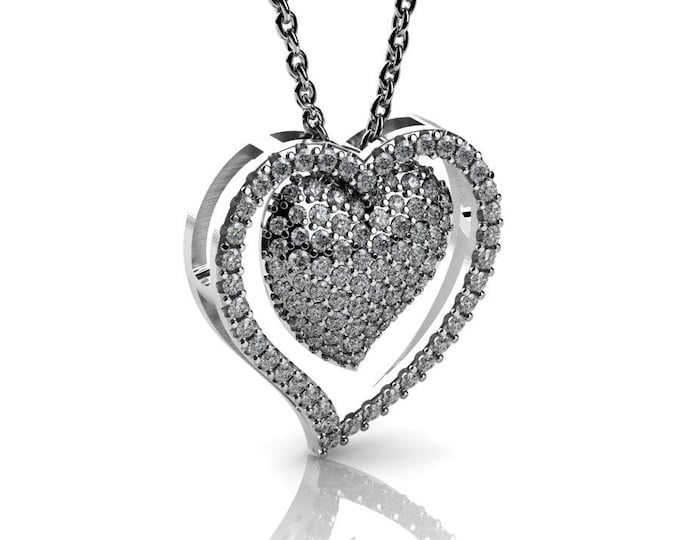14k White Gold Heart Pendants with 18 In Chain,and Diamond Item #  PFW-000-84