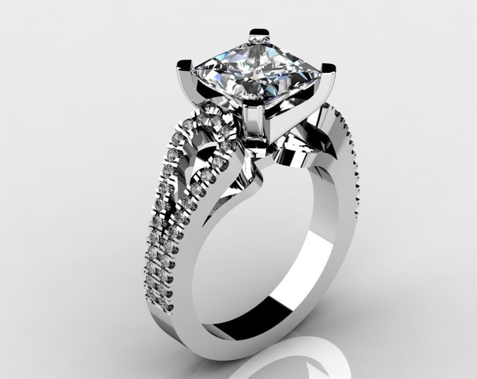 14k White Gold Wedding or Engagement Rind with Diamond and Moissanite Item # LAFW-000-X-195