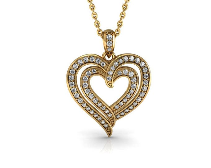 14k Yellow Gold Heart Pendants with 18 In Chain,and Diamond Item # PFW-000-X-85
