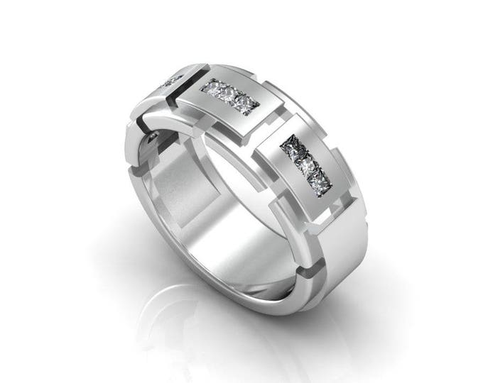 Tough Style 14K  White Gold Engagement or Wedding Band for Men with Diamond Item # RFM -0067