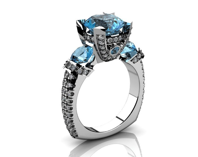 14k White Gold Wedding or Engagement Ring with Diamond and Aquamarine Item # LAFW-000-X-204