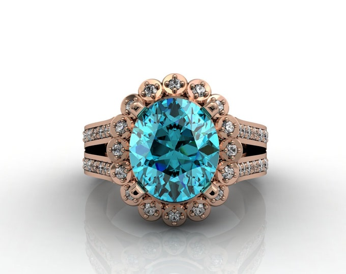 London 14k Rose Gold Classic Engagement or Wedding Ring with Diamond and Blue Topaz Item # -LARFW -00639
