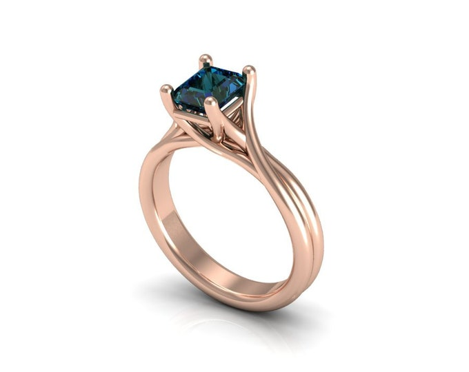 14k Rose Gold Engagement or Wedding Ring with Alexsandrite Item # LAFW-000-X-136