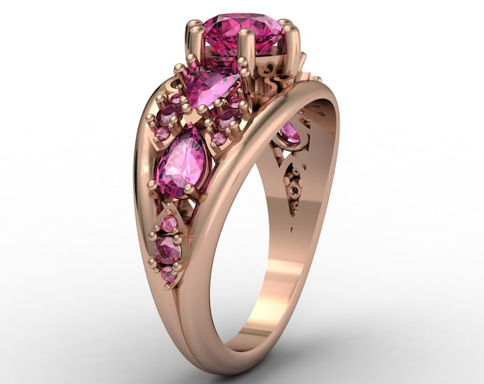 QUEEN - 14k Rose Gold Antique Engagement or Wedding Ring with Pink Sapphire stones (Item # LAWR-00237)