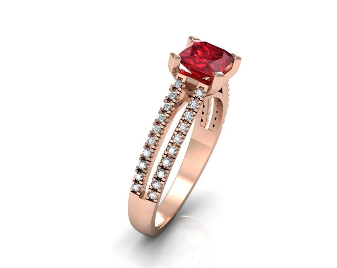 14k Rose Gold Classic Engagement or Wedding Ring with Diamond and Ruby Item # LARFW 00746