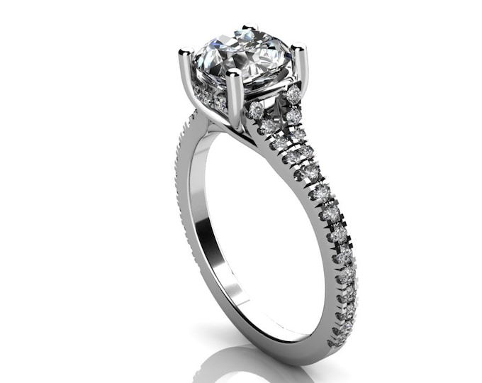 14k White Gold Wedding or Engagement Ring with Diamond and Moissanit Item # LAFW-000-X-217
