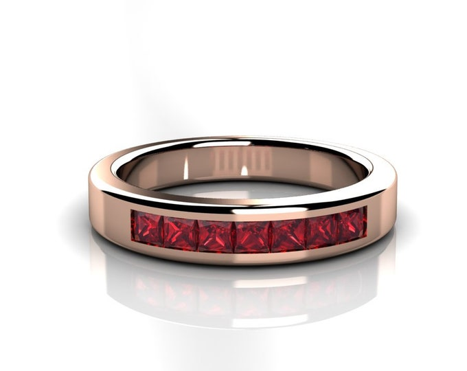14k Rose Gold Wedding or Engagement Band with Ruby Item # LAFW-000-X-337