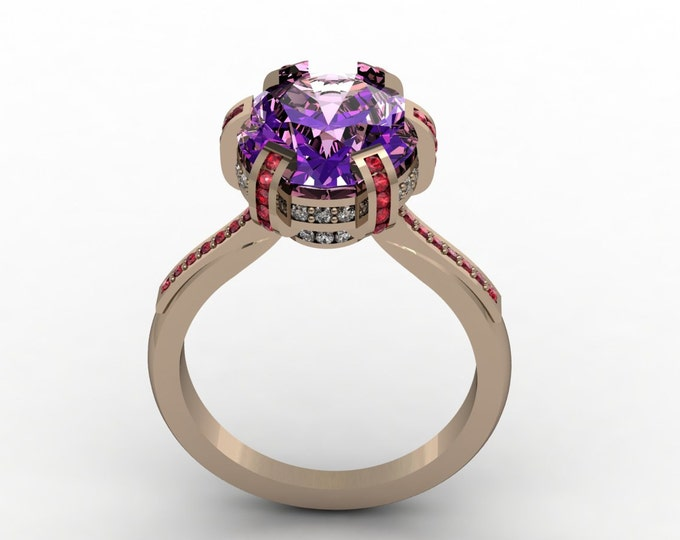 OMEGA - 14k Rose Gold Classic Engagement or Wedding Ring with Amethyst, Diamonds and Ruby's (Item # LAWR-00507)