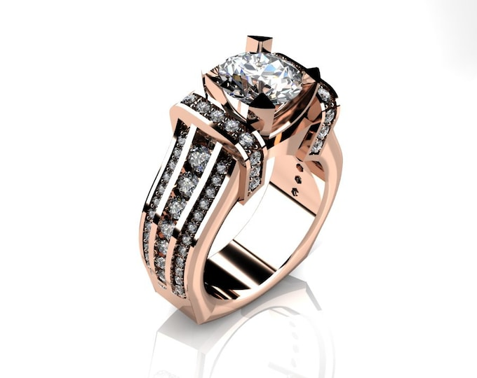 KING-14k Rose Gold Classic Wedding or Engagement Ring with Diamond and Moissanite Item # LAFW-000-X-359