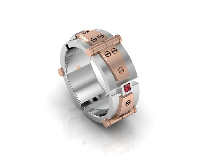 Bolted Gold-14K White and Rose Gold Engagement or Wedding Band with Ruby Item # RFM-00279