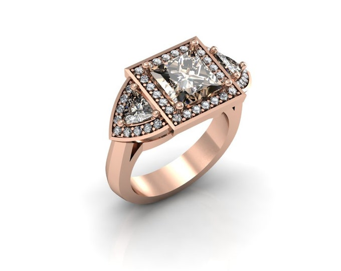 14k Rose Gold Wedding or Engagement Rind with Diamond and Morganite Item # LAFW-000-X-175