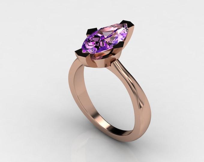 Argonauts -14k Rose Gold Classic Engagement or Wedding Ring with Amethyst Item # LAWR -00570