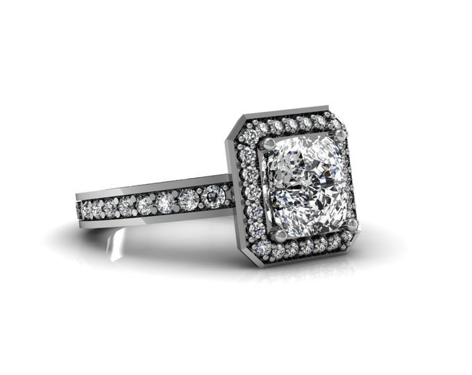 14k White Gold Wedding or Engagement Ring with Moissanite and Diamond Item # LAFW-000-X-334