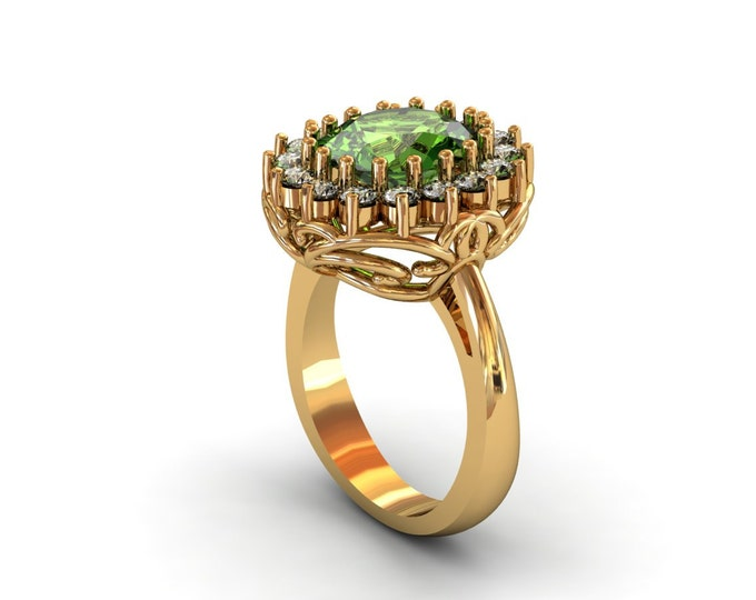 18k Yellow Gold Classic Engagement or Wedding Ring with Diamond and Tourmaline Item # LARFW-00741
