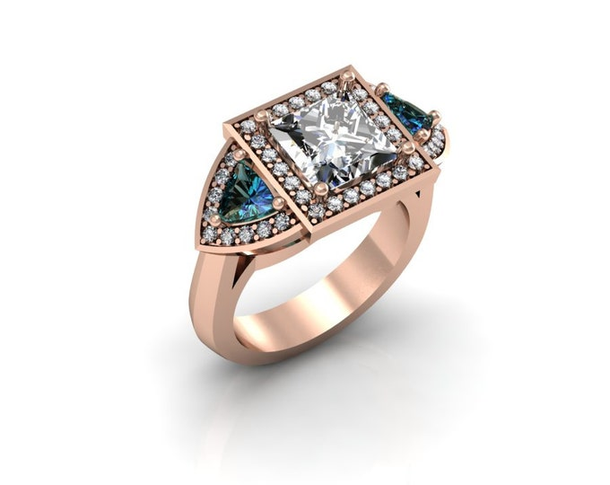 14k Rose Gold Wedding or Engagement Rind with Diamond,Alexsandrite and Moissanite Item # LAFW-000-X-179