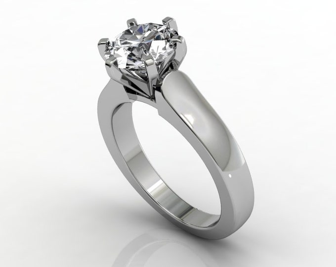 14k White Gold Classic Engagement or Wedding Ring with Moissanite Item # RFW000-X-276