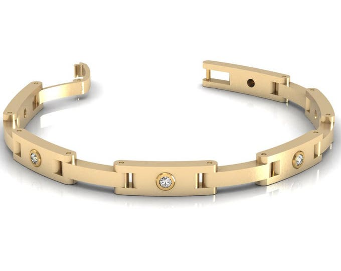 14k Yellow Gold Chain and Link Bracelets with Diamond Item # BFW-000-X-59