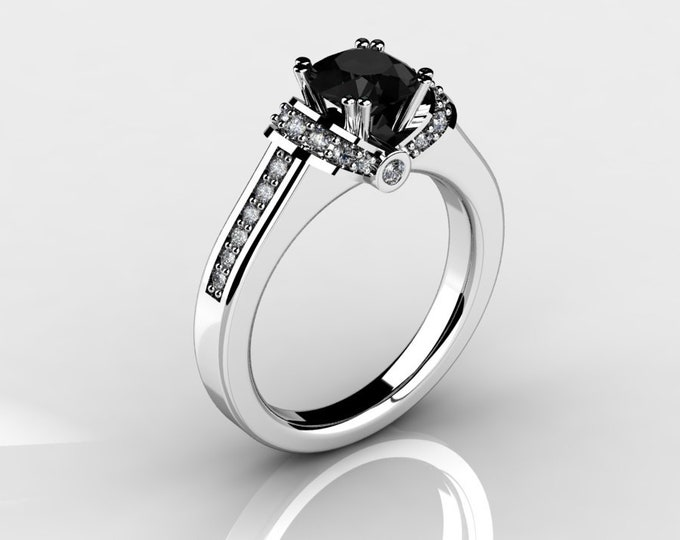 14k White Gold Wedding or Engagement Rind with Diamond and Black Diamond Item # LAFW-000-X-198