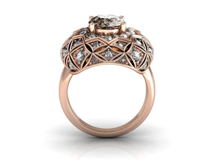 14k Rose Gold Classic Engagement or Wedding Ring with Diamond and Moganite Item # RFW-000-X-47