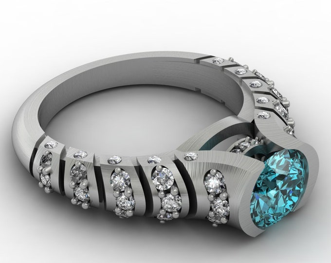 Volcano 14k white Gold Classic Engagement or Wedding Ring with Diamond and Blue Topaz Item #; RFM -00328