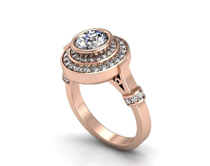 14k Rose Gold Classic Engagement or Wedding Ring with Diamond and Moissanite Item # RFW-000-X-20