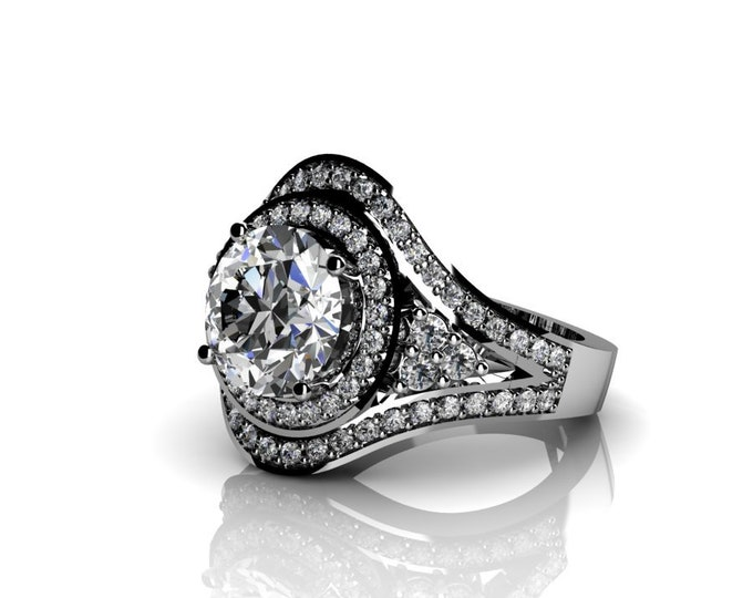 14k White Gold Wedding or Engagement Ring with Moissanite and Diamond Item # LAFW-000-X-327