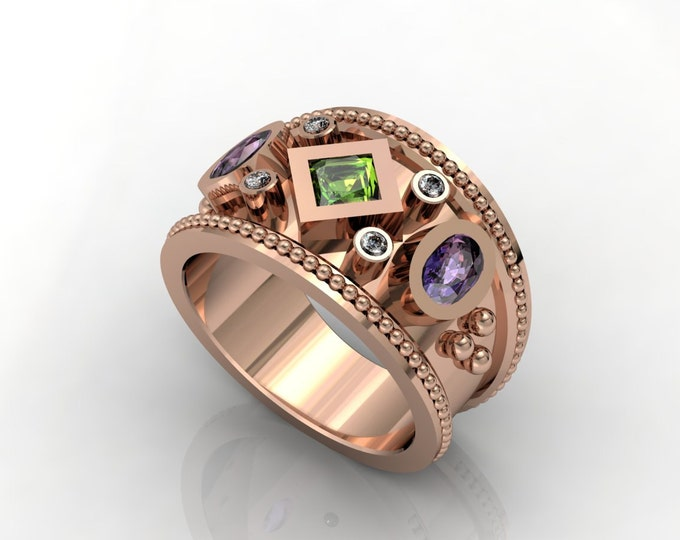 Vintage Style -14k Rose Gold Classic Engagement or Wedding Ring With Diamond, Tanzanite and Tourmaline Item # LARFW -00672