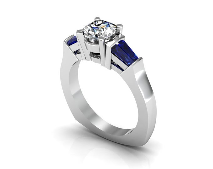 i 14k  White Gold Wedding or Engagement Ring with Blue Sapphire and Moissanite Item # LAFW-000-X-206