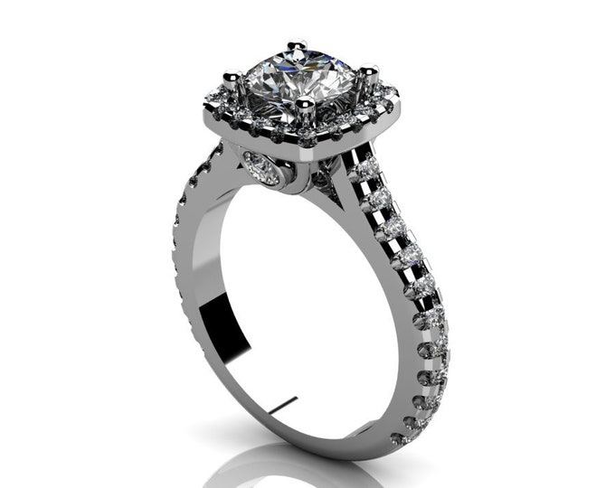 14k White Gold Classic Engagement or Wedding Ring with Diamond  and Moissanite Item # RFW000-X-300