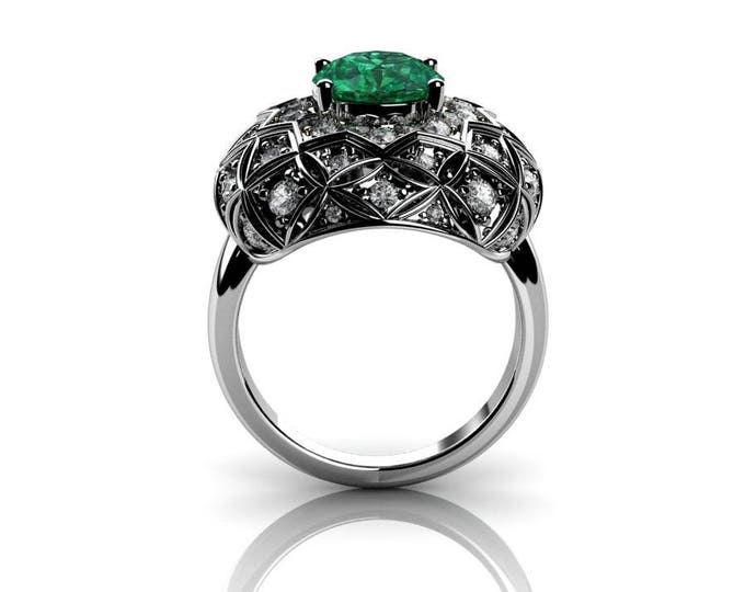 14k White Gold Classic Engagement or Wedding Ring with Diamond and Emerald Item # RFW-000-X-46
