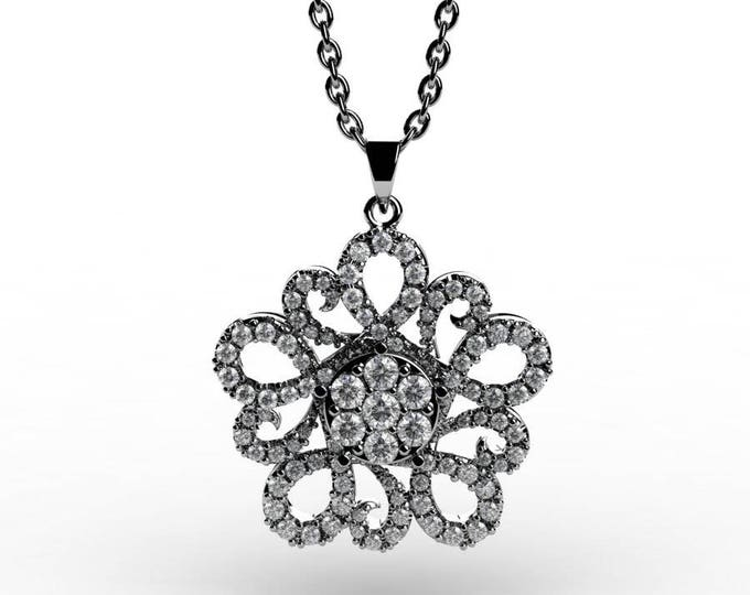 14k White Gold and Diamonds Pendants with 18 Inch Chain,  Item # PFW-000-X-54