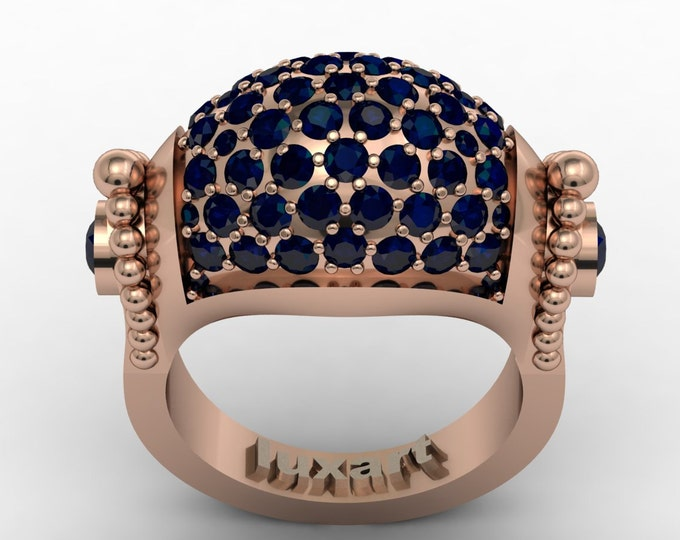 Renesans - 14K Rose Gold Classic Engagement or Wedding Ring with Dark Blue Sapphire stones (Item #: RFM-00450)
