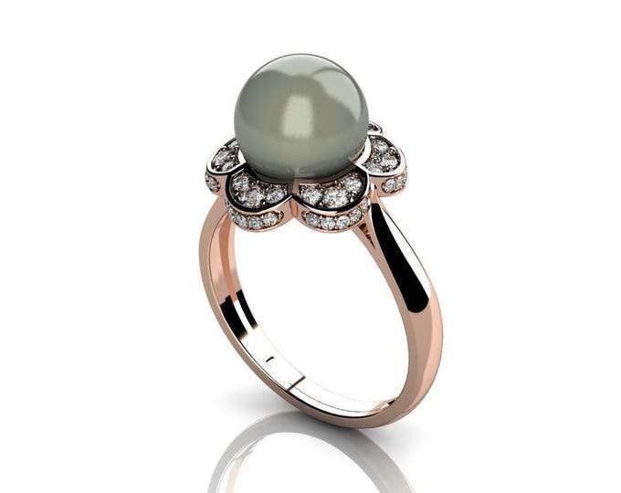 14k Rose Gold Classic Engagement or Wedding Ring with Diamond and Pearl Item # RFW-000-X-11