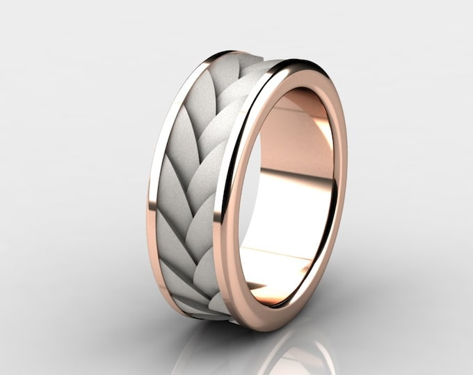 TURBINE - 14k Two Tone Rose and White Gold Classic Engagement or Wedding Band Item # RFM-000-X-94