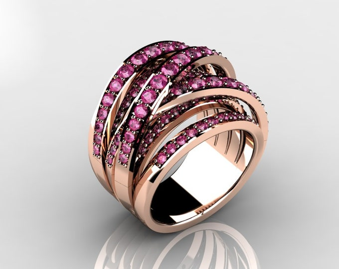 14k Rose Gold Classic Wedding or Engagement Ring with Pink Sapphire Item # LAFW-000-X-368