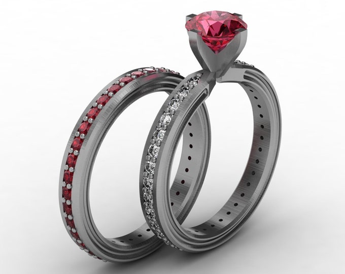 CHEMISTRY -14K White Gold Classic Engagement or Wedding Band with Diamond and Ruby Item #; RFW -00483