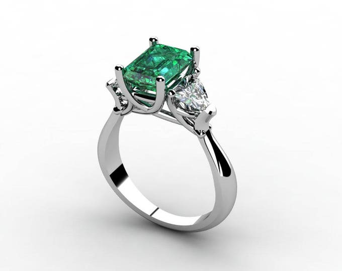 18k White Gold Classic Engagement or Wedding Ring with Emerald and Moissanite Item # RFW-000-X-18