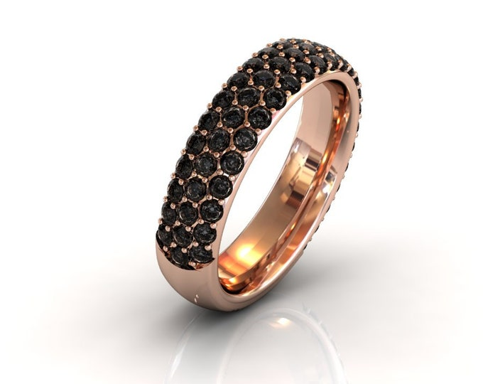 14k Rose Gold Wedding or Engagement Band with Black Diamond Item # LAFW-000-X-228
