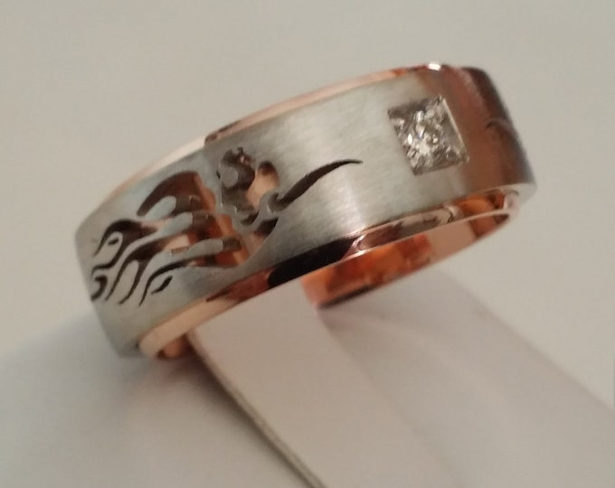 RAGING BULL - 14k White and Rose Gold Classic Engagement or Wedding Band with Diamond (Item # LAMR-00572)