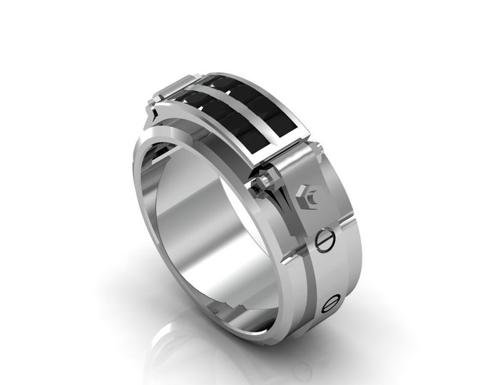 Al Capone - 14k White Gold Classic Engagement or Wedding Band with Black Diamond stones (Item#: LAMR-00590)