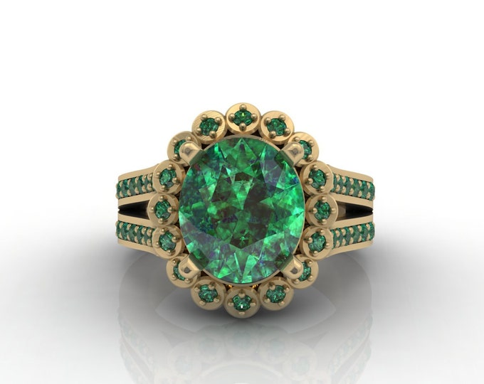 London 18k Yellow Gold Classic Engagement or Wedding Ring with Emerald Item # LARFW -00632