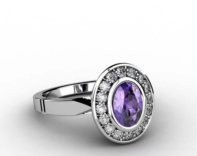 14k White Gold Classic Engagement or Wedding Ring with Diamond and Amethyst Item # LARFW 00848