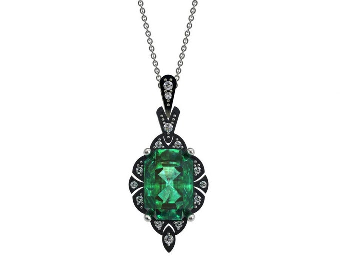 14k White Gold Pendant with 18-inch White Gold Chain,Lab Created Emerald, and Diamond Item # LAFW-000-X-237