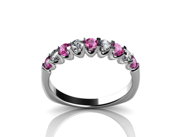 14k White Gold Wedding or Engagement Ring with Diamond and Pink Sapphire Item # LAFW-000-X-224
