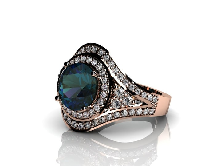 14k Rose Gold Wedding or Engagement Ring with  lab created Alexsandrite and Diamond Item # LAFW-000-X-329
